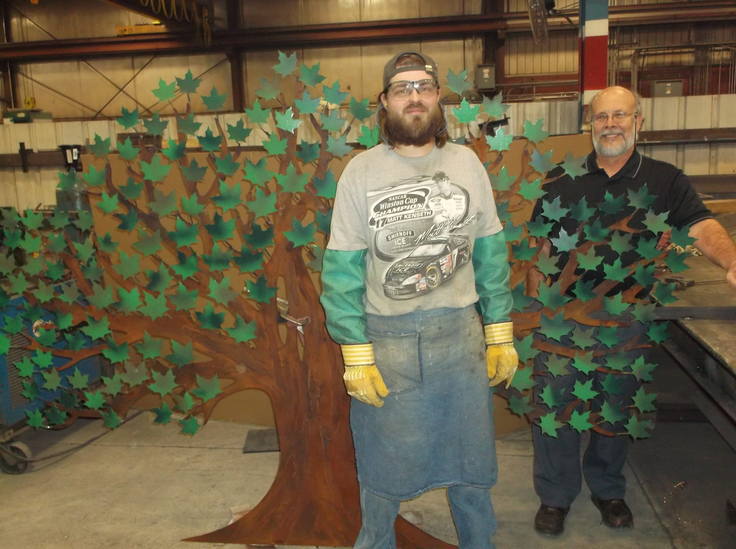 Nate and Bernie with the doation tree for Senior Citizen Center in Beaver Dam